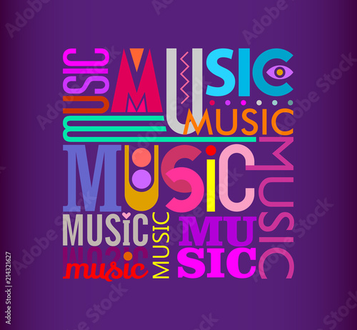 In de dag Abstractie Art Music text design on a dark violet