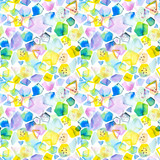 Seamless pattern with abstract geometric figures. Watercolor stains and shapes. Bright tropical, summer colors, yellow, blue  and green. - 214327280