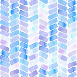 Seamless pattern with abstract geometric figures. Watercolor stripes like a trace of the wheel, blue and violet colors. - 214327410