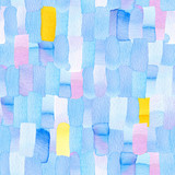 Seamless pattern with abstract geometric figures. Watercolor vertical stripes merge smoothly into one pattern, blue, yellow and violet colors. - 214327621