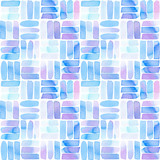 Seamless pattern with abstract geometric figures. Watercolor line-spots in the tiled pattern, blue and violet colors. - 214327810