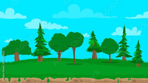 Foto Spatwand Turkoois Cartoon seamless nature landscape background illustration, endless field for games and animations.