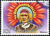Native richly adorned of Papua New Guinea on stamp - 214333049