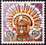 Indigenous of Papua New Guinea on postage stamp - 214333252