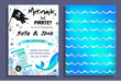 Постер, плакат: Mermaid and pirate party invitation with holographic background mermaid tail pirate flag and doodles Vector Birthday card for little pirate boy and mermaid girl