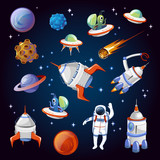 Set of colorful cartoon space elements. Aliens, planets, asteroids, spaceships, stars and astronauts. Universe vector illustration.