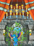 happy cartoon scene with blue bird in castle room trying to fly - illustration for children