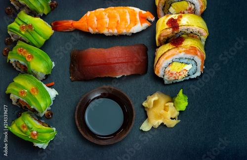 Foto Spatwand Sushi bar Japanese sushi set on black slate and free copy space