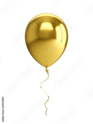 3D renderingu złoty balon Odizolowywający na białym tle
