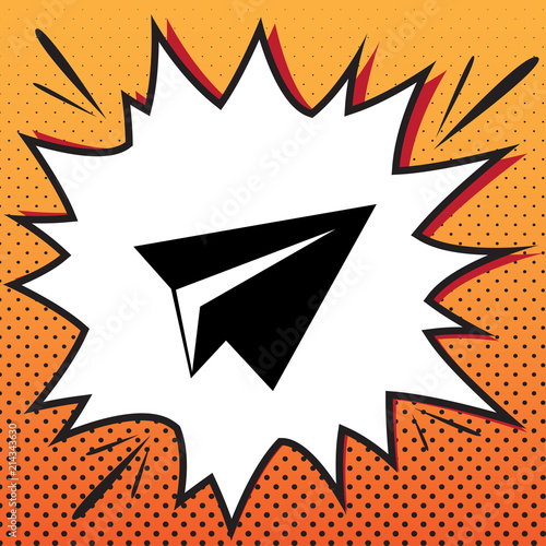 Foto Spatwand Pop Art Paper airplane sign. Vector. Comics style icon on pop-art backgr