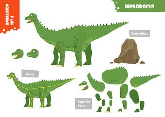 Cartoon Style Dinosaur Diplodocus Character For Animation Set. Vector Illustration © Puslatronik