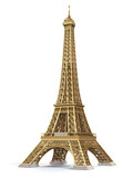 Eiffel Tower golden isolated on a white background. - 214356285