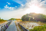 wooden footbridge on the beach - 214368467