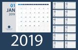 2019 Calendar Planner - vector illustration. Template. Mock up. - 214368616