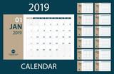 2019 Calendar Planner - vector illustration. Template. Mock up. - 214368642
