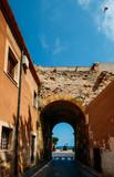 Roman entrance to the town of Tarragona, Catalonia, Spain. The city was an important Roman city named Tarraco - 214383439