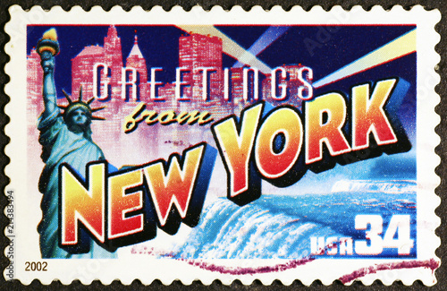 Greetings from new york postcard on postage stamp buy photos ap greetings from new york postcard on postage stamp m4hsunfo