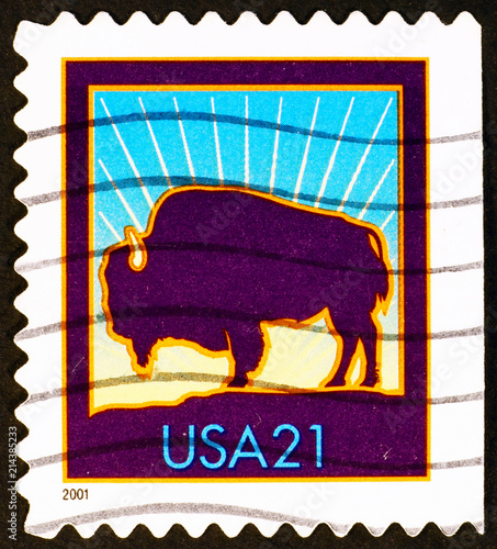 Canvas Bison American Buffalo on postage stamp