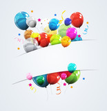 Color Glossy Happy Birthday Balloons Banner Background Vector Illustration - 214393228