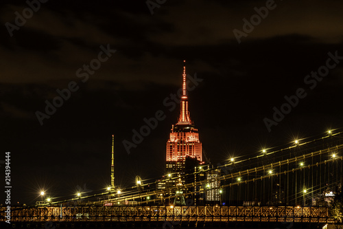 Foto Spatwand Brooklyn Bridge Empire State Building over Brooklyn Bridge