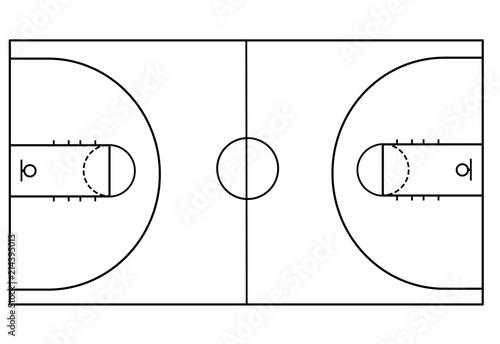Basketball court on white background