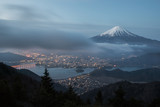 Mountain Fuji with cloud and Kawaguchiko lake in early morning seen from Shindo toge view point. - 214401857