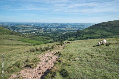 Foto Spatwand Blauwe hemel Stunning vibrant Summer landscape of Brecon Beacons National Park looking down valley