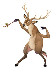 Funny deer is playing with a branch like a conductor © ddraw
