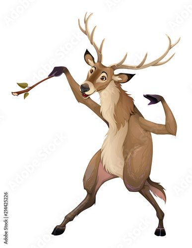 Foto Spatwand Kinderkamer Funny deer is playing with a branch like a conductor