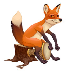 Funny fox is playing with the drum. © ddraw