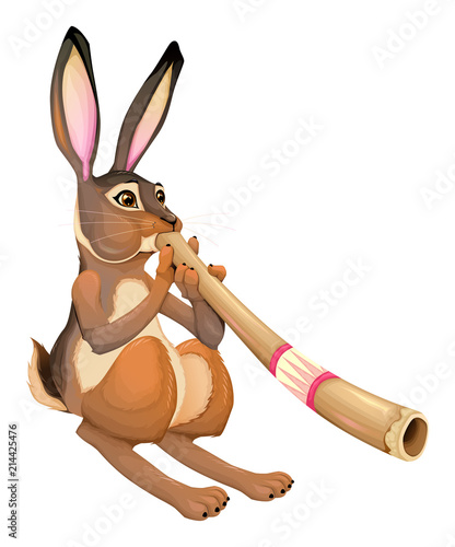 Foto Spatwand Kinderkamer Funny hare is playing with the didgeridoo