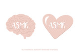 Set, collection of ASMR icons, logos in cartoon, doodle style. Concept of ASMR in heart and mind. - 214428291