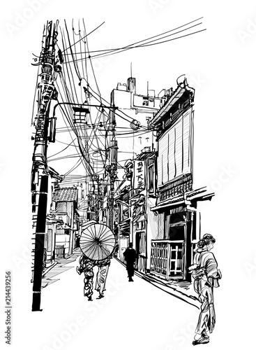 Foto Spatwand Art Studio Street in Japan