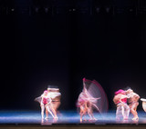 auditorium, view of the stage. ballet dancers silhouettes. Defocused entertainment concert lighting on stage.  - 214442252