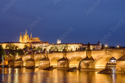 Charles bridge and Prague castle on evening