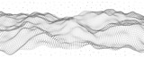 Vector illustration of a hollow particle cubes. Abstract waves of the current.