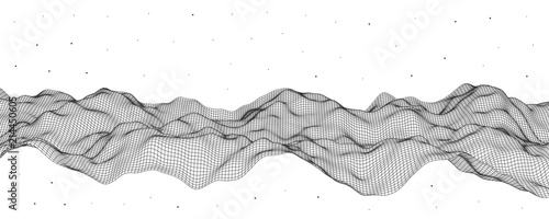Vector illustration, polygonal mesh. Abstract flow waves. - 214450605