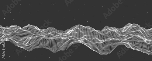 Vector illustration, polygonal mesh. Abstract flow waves. - 214450623