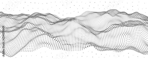 Vector illustration of a hollow particle cubes. Abstract waves of the current. - 214450649