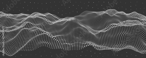 Vector illustration of a hollow particle cubes. Abstract waves of the current. - 214450671