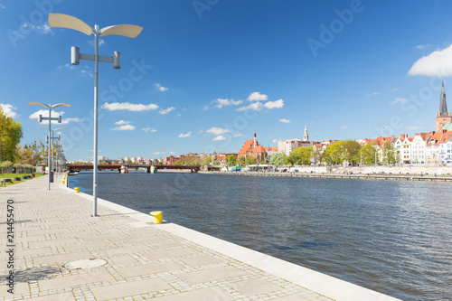 Szczecin in Poland, Waterfront view of the historical part city