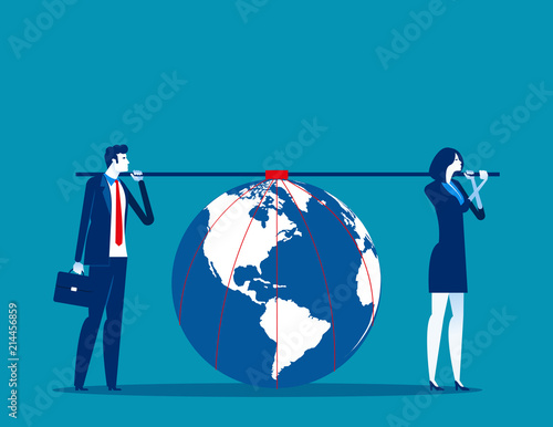 business team carrying earth concept business responsibility vector
