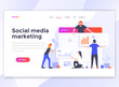 Flat Modern design of wesite template - Social media marketing