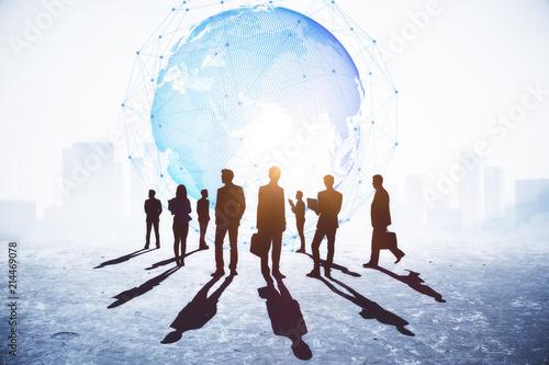Leinwanddruck Bild Global business and meeting concept