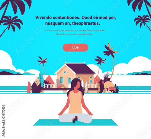 Foto Spatwand Turkoois woman doing yoga exercises lotus over beach villa house tropical island female cartoon character fitness activities full length flat copy space vector illustration
