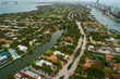 Aerial image Miami Beach Florida USA homes on water