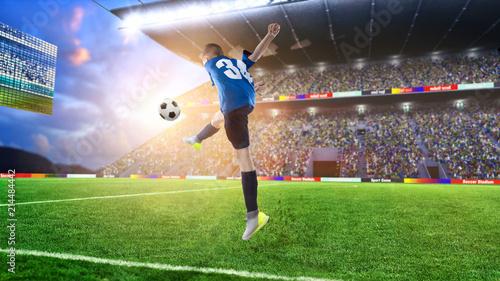 Fotobehang Voetbal kid football player hitting the ball on a soccer stadium