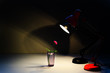 red and black table lamp shining on a red flower and warms with its warmth