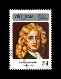Isaac Newton (1642-1727), famous scientist, explorer, mathematician, astronomer, observer, circa 1985. vintage postal stamp printed in Viet Nam isolated on black background.