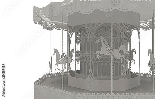 Canvas Amusementspark Origami, Creazione artistica in carta, foresta, carosello, illustrazione 3d, fantasy, carosello
